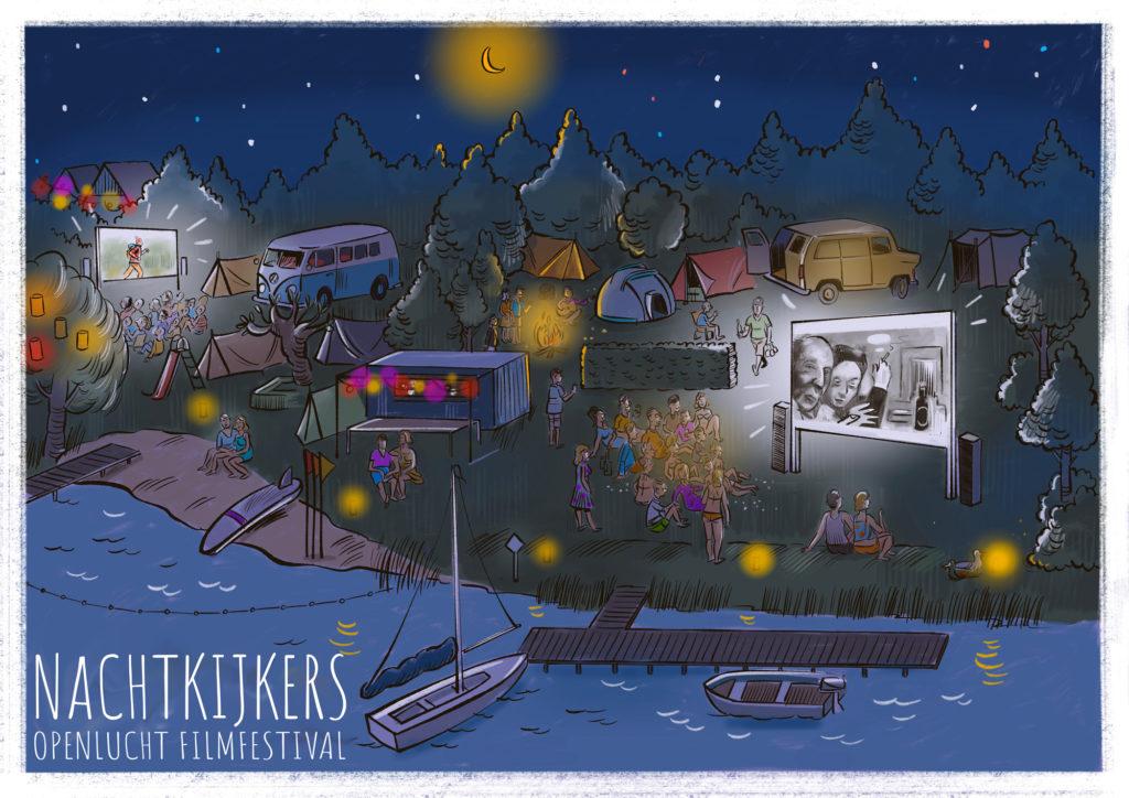sfeertekening van het Nachtkijkers Filmfestival door Gerco van Beek