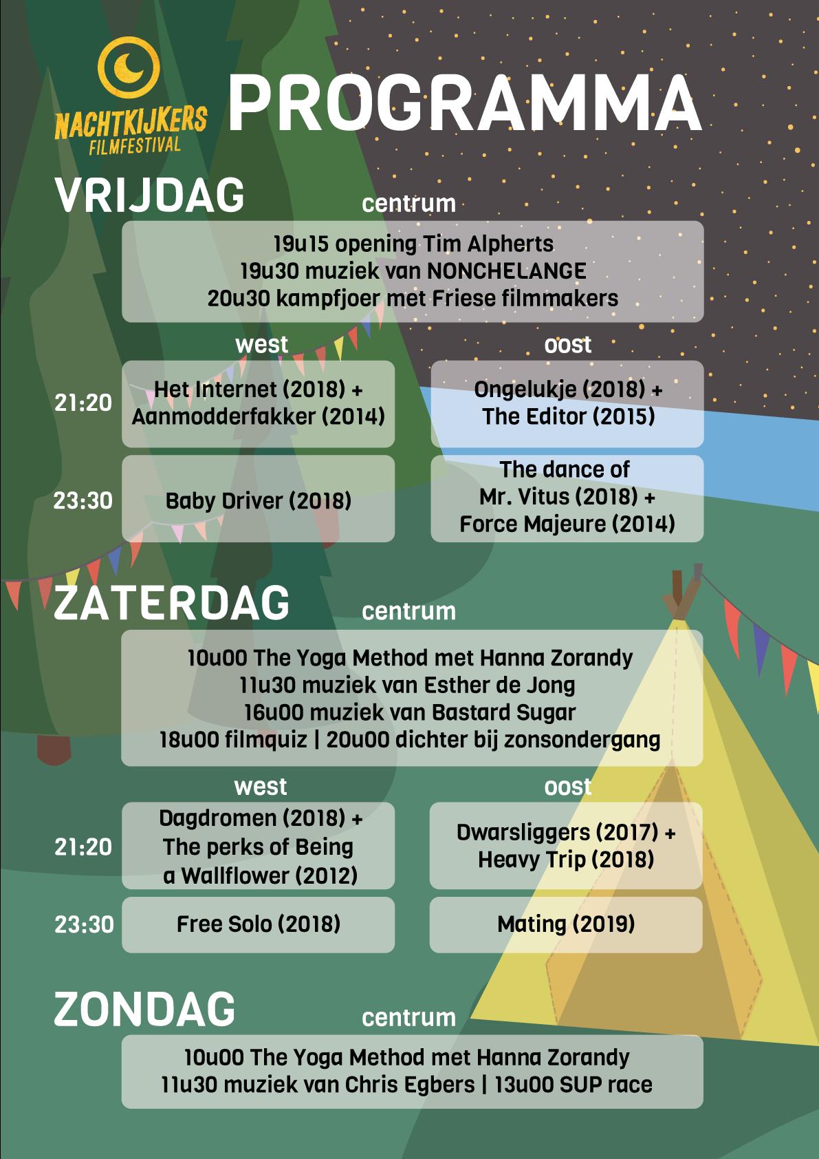 Blokkenschema programma Nachtkijkers Filmfestival 2019
